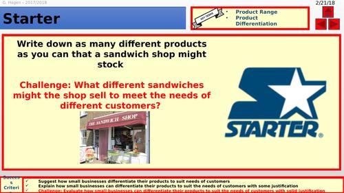 9-1 New Edexcel GCSE Business 1.4 Marketing Mix Product Lesson
