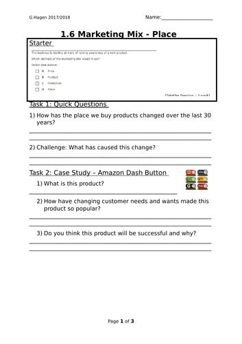 9-1 New Edexcel GCSE Business 1.4 Marketing Mix Place Lesson