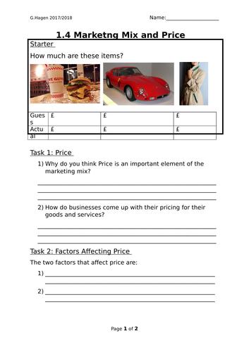 9-1 New Edexcel GCSE Business 1.4 Marketing Mix Price Lesson