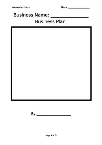 9-1 New Edexcel GCSE Business 1.4 Business Plans Lesson (2 hours)