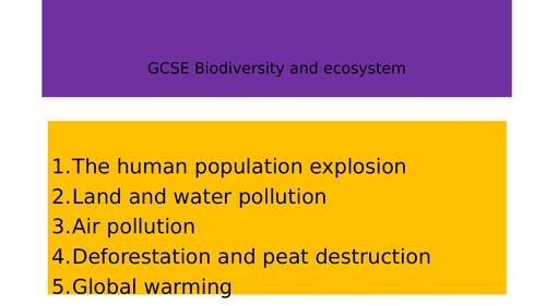 GCSE AQA Biodiversity and Ecosystem