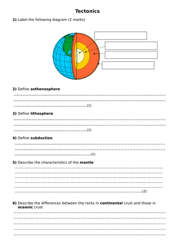 GCSE Geography Tectonic revision questions
