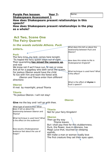 A Midsummer Night's Dream extract with questions. Act 2 Scene 1.