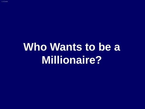 Literacy Who Wants to be a Millionaire quiz