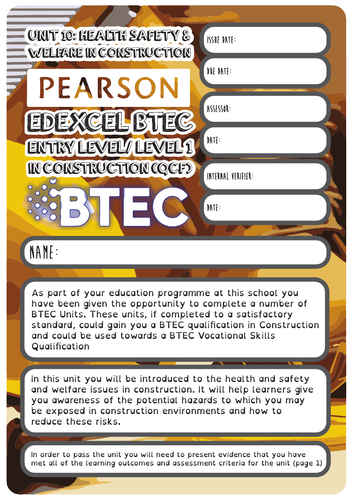 Card matching activities and BTEC Level 1 In construction (QCF) Unit 10 Health & Safety