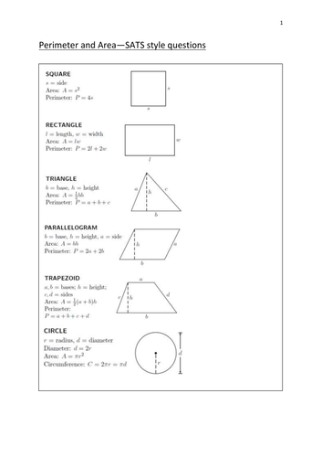 Area and perimeter Sats style questions for year 7/8