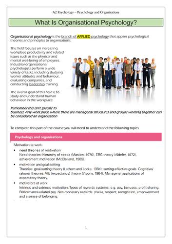CIE A' level Psychology - Organisational Psychology -Motivation to work