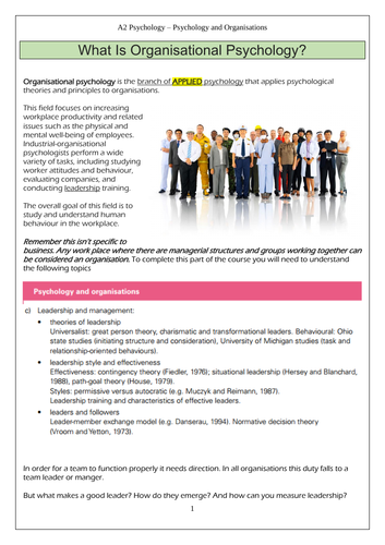 CIE A' level Psychology - Organisational Psychology - Leadership in the Workplace