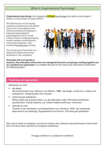 CIE A' level Psychology - Organisational Psychology - Satisfaction at Work