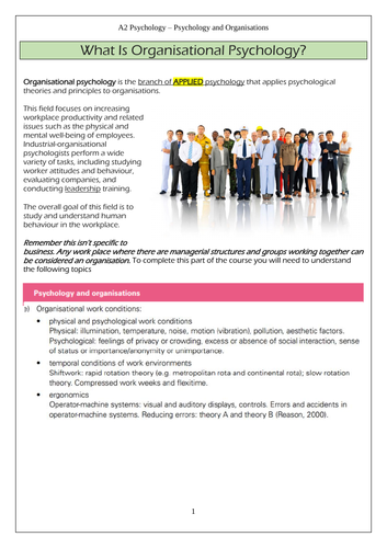 CIE A' level Psychology - Organisational Psychology - Work Conditions