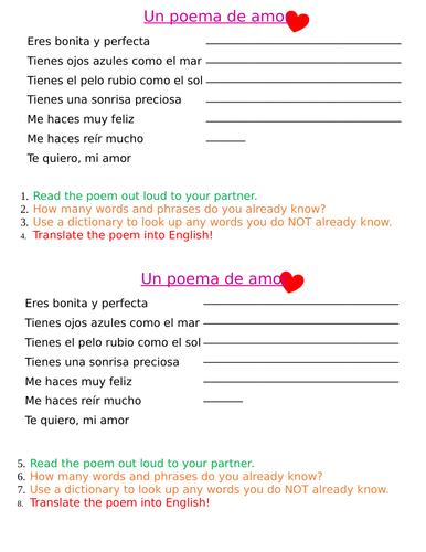 KS3 Día de San Valentín/ Valentine's Day
