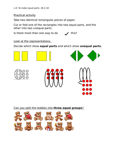 Making Equal Parts An Introduction To Fractions For Year