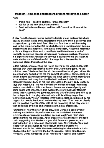 macbeth high level model essay  how does shakespeare present  macbeth high level model essay  how does shakespeare present macbeth as a  hero by ksa  teaching resources  tes