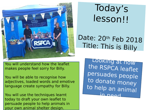 Persuasive techniques KS3 - Billy the dog RSPCA leaflet