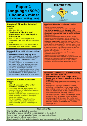 AQA English Language Paper 1 and 2  revision placemat