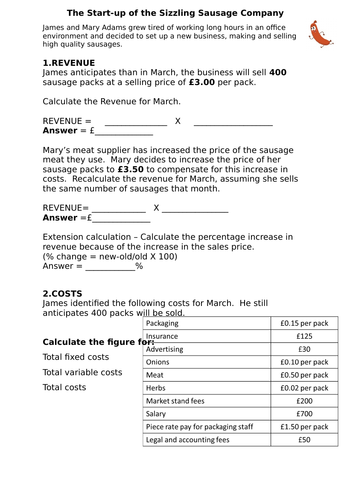 GCSE Business Costs/Revenue/Profit Worksheet with calculations