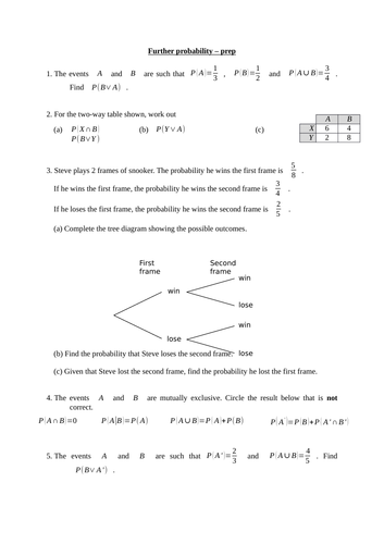 Conditional probability (new A level maths) - notes, examples, exercises and a homework/test