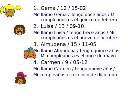 Y7 - 8  Birthday and age - Spanish - Cumpleaños