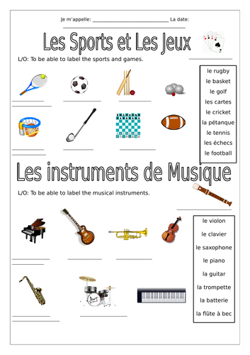 french sports games musical instruments worksheets by labellaroma teaching resources. Black Bedroom Furniture Sets. Home Design Ideas