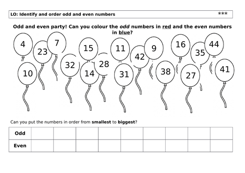 Year 1 Odd and Even worksheet
