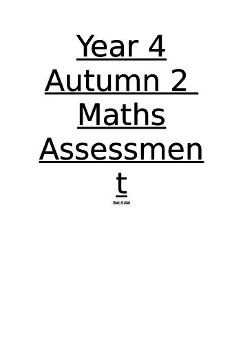 Year4 - Autumn 2 Maths test
