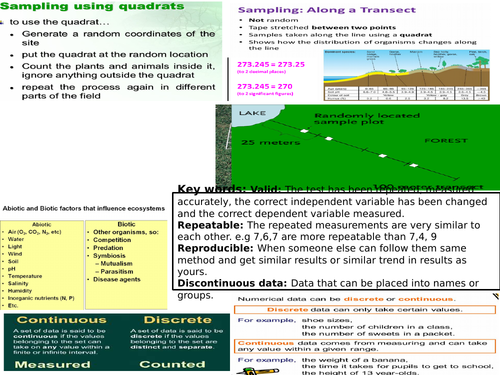 AQA GCSE 9-1 Biology Environment and adaptations revision Mat