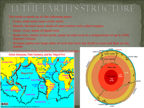 Outline of earthquake and volcanoes, including tectonic plates, types of volcano, case studies.