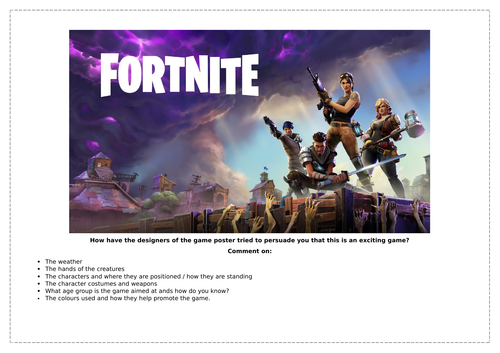 Reading to access media texts: Fortnite Analysis