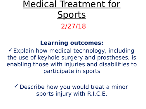 A2 Edexcel Medical Treatment for Sports - including prosthesis and surgery