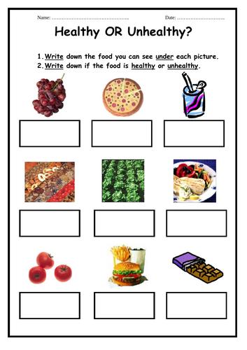 Healthy or Unhealthy Foods - 2 worksheets