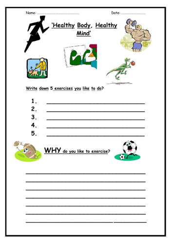 Healthy Body, Healthy Mind (2 worksheets)