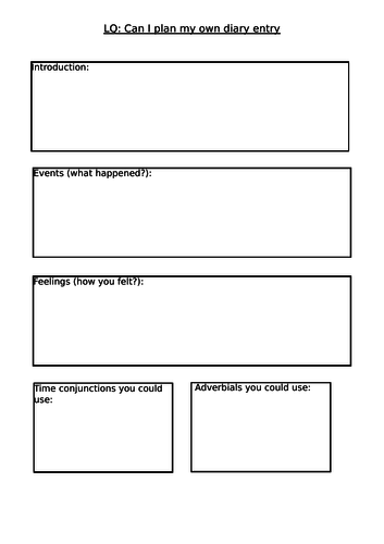 Diary planning sheets