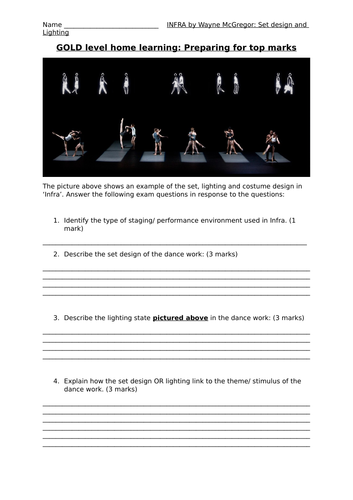 GCSE Dance Infra Set Deisgn and Lighting Differentiated Worksheet