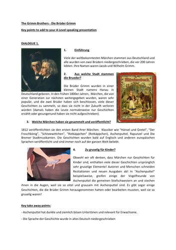A level  (AQA) The Grimm Brothers speaking presentation model