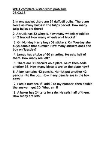 Word problems on doubling and halving