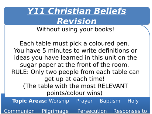 Y11 AQA Christian Practices Revision