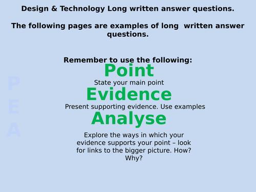 AQA GCSE Design & Technology 2018  long written questions & answer examples