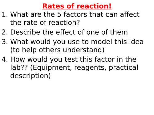 5.6: AQA Rates of reaction (Combined Trilogy)
