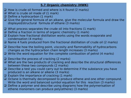 5.7: AQA Organic Chemistry (Combined Trilogy)