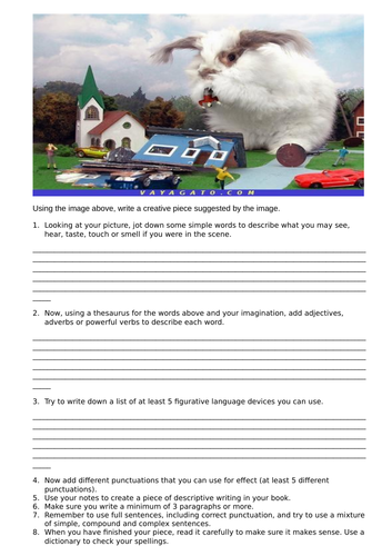 Creative writing step by step guide with a visual prompt