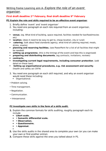 BTEC Business Level 3 Unit 4 Managing an event