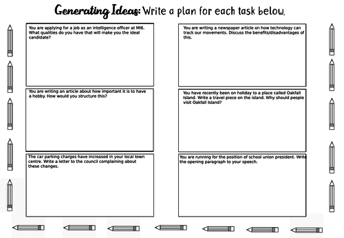 A3 Planning Sheet for Transactional Writing