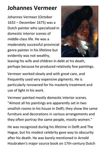 Johannes Vermeer Handout