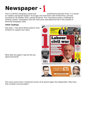 AQA AS Media CSP - i Newspaper - Workbook and teacher notes
