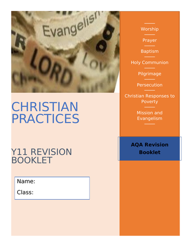 GCSE AQA RE Christian Practices Revision and Activity Booklet