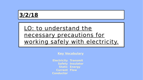 KS2 Electricity - Safety