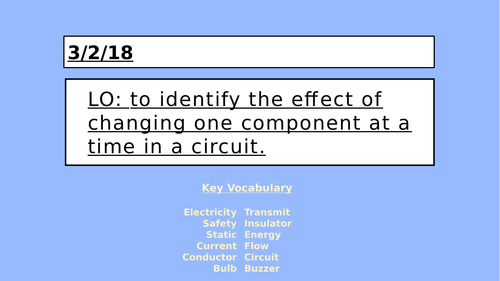 KS2 Electricity - Changing Components