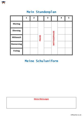 German - School timetable, uniform & opinions worksheet