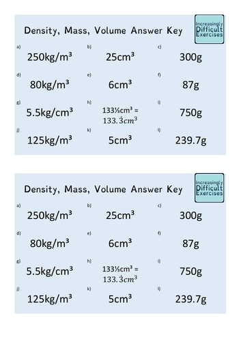 Increasingly Difficult Questions - Density, Mass, Volume