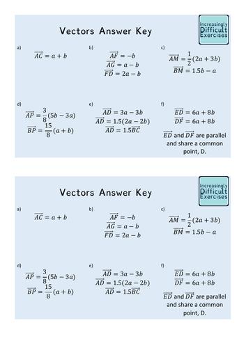 Increasingly Difficult Questions - Vectors